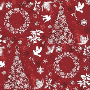 Picture of Christmas Joy Seasonal Basics Holiday Items White on Red Cotton Fabric