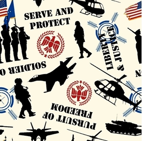 Serve and Protect Military Patriotic Soldier Vehicles Cotton Fabric
