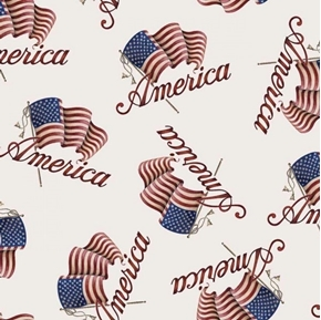 Patriotic America American Flags Waving Flag White Cotton Fabric