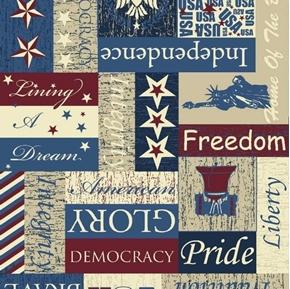 Patriotic Pride of America Colonial Rustic Democracy Cotton Fabric