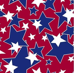 Star Burst Patriotic White and Blue Stars on Red Cotton Fabric