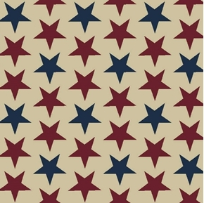 Patriotic Packed Stars Red Blue Stars on Beige Colonial Cotton Fabric