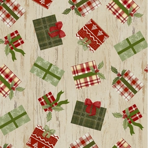 Christmas Campers Holiday Presents Gifts Tan Wood Grain Cotton Fabric