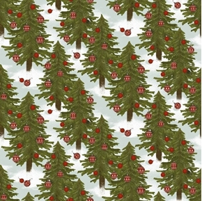 Christmas Campers Christmas Tree Lot Holiday Blue Cotton Fabric