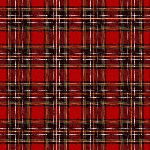Merry and Brite Red Plaid Christmas Holiday Metallic Cotton Fabric