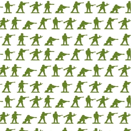 Flannel Military Max Army Soldiers Green Men on White Cotton Fabric