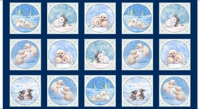 Woodland Cuties Patch Baby Bears Bunnies 24x44 Cotton Fabric Panel