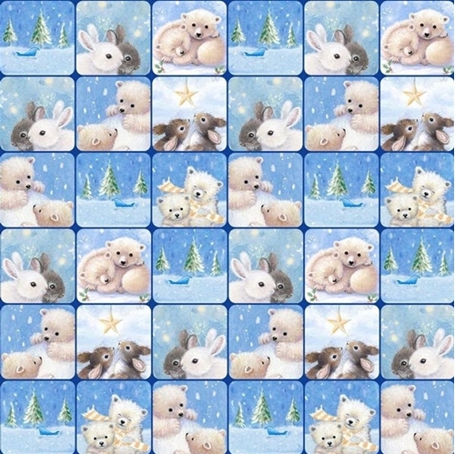Woodland Cuties Checkerboard Baby Bears and Bunnies Blue Cotton Fabric