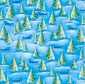 Woodland Cuties Pine Trees and Sleigh Winter Snow Blue Cotton Fabric