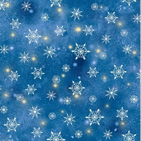 Woodland Cuties Snowflakes Snow at Night Navy Cotton Fabric