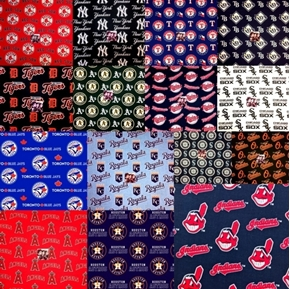 MLB Baseball 15 American League Team Licensed Fabric 18x29 FQ Bundle