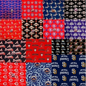 MLB Baseball 15 National League Team Licensed Fabric 18x29 FQ Bundle