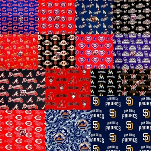 MLB Baseball 15 National League Team Licensed Fabric 18x29 FQ Bundle