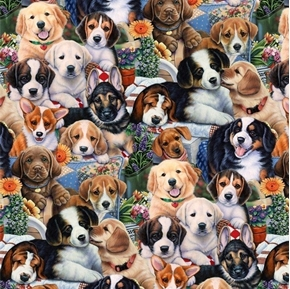 Animal Tradition Garden Puppies Puppy Flower Dog Cotton Fabric