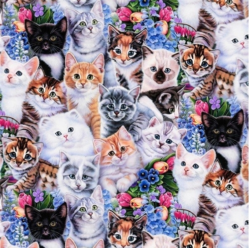 Animal Tradition Garden Kittens and Flowers Cat Cotton Fabric