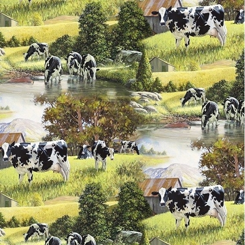 Animal Tradition Cows at the River Dairy Farm Country Cotton Fabric