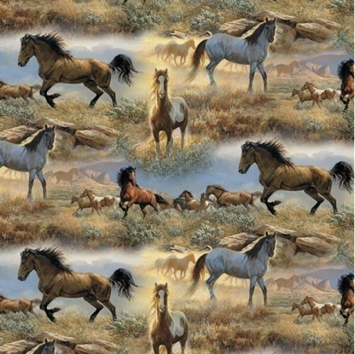 Animal Tradition Horses in the Prairies Wild Horse Cotton Fabric