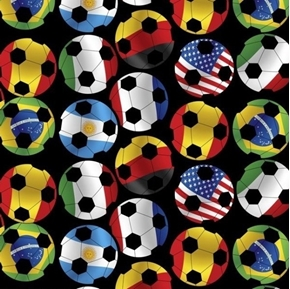 Sports Action Soccer Day International Flag Soccer Ball Cotton Fabric