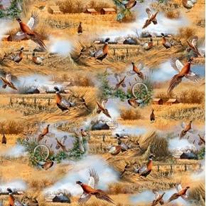 Pheasant Fields Pheasant Scenic Farm and Field Cotton Fabric