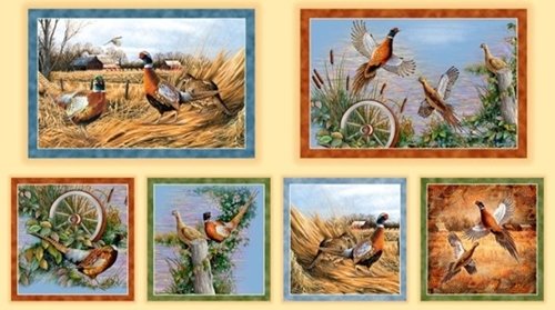 Pheasant Fields Pheasant Picture Patches Tan 24x44 Cotton Fabric Panel