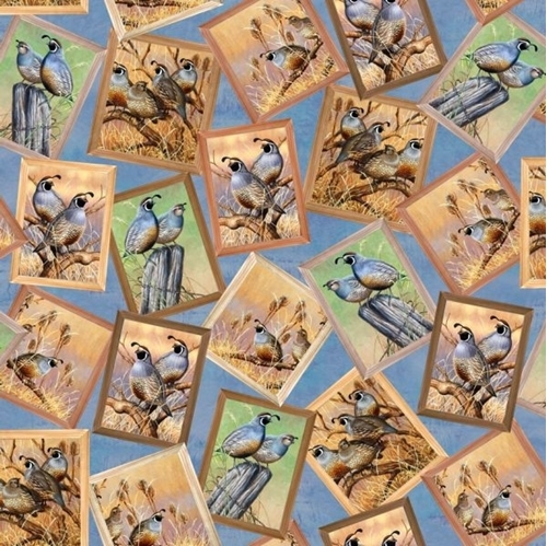 Pheasant Fields Quail Patch Quails Framed Blue Cotton Fabric