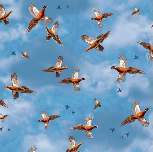Pheasant Fields Pheasants in Flight Cloudy Blue Sky Cotton Fabric