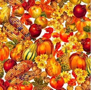Picture of Autumn Bounty Harvest Fruits and Vegetables Metallic Cotton Fabric
