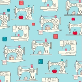 Sew What? Sewing Machines Pin Cushions Patches Aqua Cotton Fabric