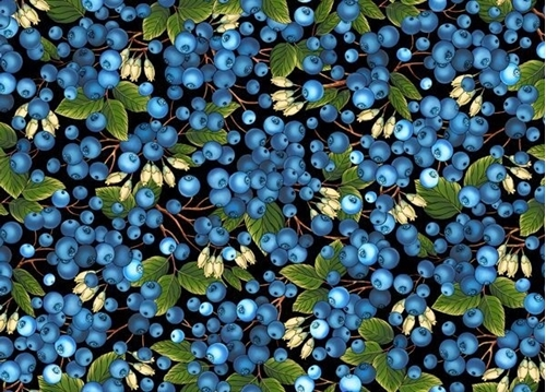 This & That I Blueberries Blueberry Bush Berries Black Cotton Fabric