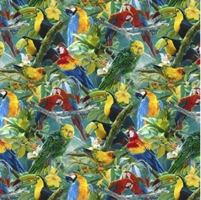 Tropics Toucans and Macaws Tropical Birds Digital Bird Cotton Fabric
