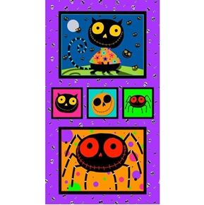 Creepy Halloweenies Cute Cat Spider Pumpkin 24x44 Cotton Fabric Panel