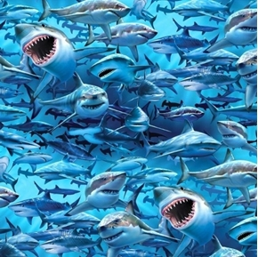 Tropics Shark Nation Fierce Sharks In Water Digital Cotton Fabric