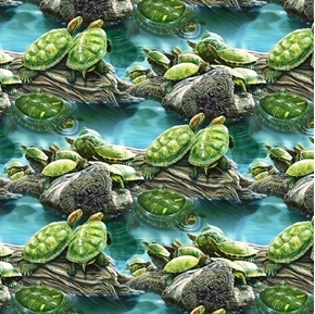 Tropics Turtle Pond Turtles on Logs Digital Cotton Fabric