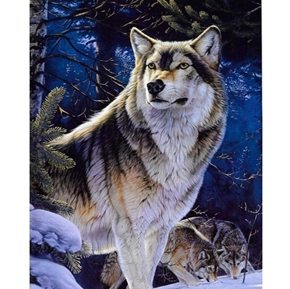 Animal Instincts Sentinel Wolf Wild Wolves Digital Cotton Fabric Panel