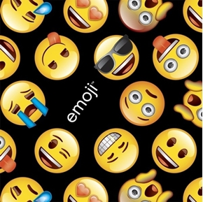 Classic Emoji Texting Face Emoticon Yellow Faces Black Cotton Fabric