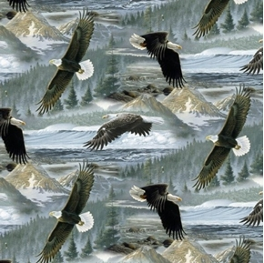 Animal Tradition Large Eagles Soaring Along The Shores Cotton Fabric