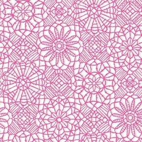Amazing Lace Decorative Flower Lace Print White on Pink Cotton Fabric