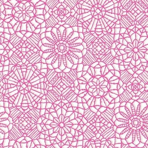 Amazing Lace Decorative Flower Lace Print White on Pink Cotton Fabric
