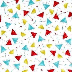 The Gift of Friendship Santoro Girl Umbrellas White Cotton Fabric