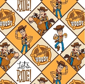 Disney Toy Story 4 Sheriff Woody Brown Diamonds Cotton Fabric
