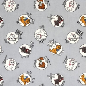 Disney Aristocats Mom and Kittens Travel Grey Cotton Fabric