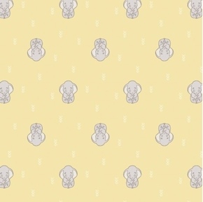 Disney Dumbo Dreaming Baby Sleeping Elephant Yellow Cotton Fabric