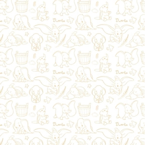 Disney Dumbo Outline Circus Performing Toile Yellow Cotton Fabric