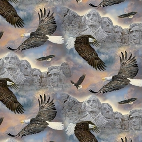 Past and Present Soaring Over Mount Rushmore Bald Eagle Cotton Fabric