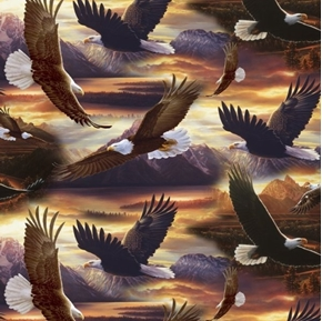 Soaring Over the Sunset Bald Eagles Large Eagle Cotton Fabric