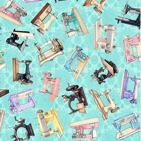 Tailor Made Sewing Machines Vintage Machine Light Aqua Cotton Fabric