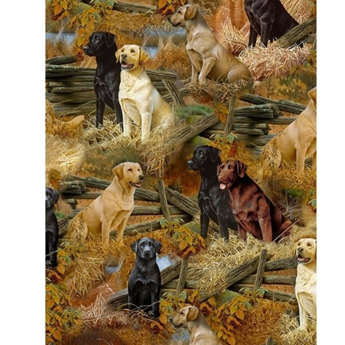 Loyal Loveable Labs Labrador Dogs Scenic Dog Breeds Cotton Fabric