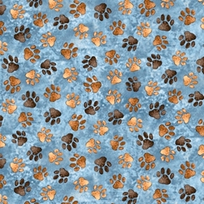 Loyal Loveable Labs Paw Prints Dog Paws Blue Cotton Fabric