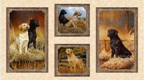 Loyal Loveable Labs Labrador Picture Patches 24x44 Cotton Fabric Panel
