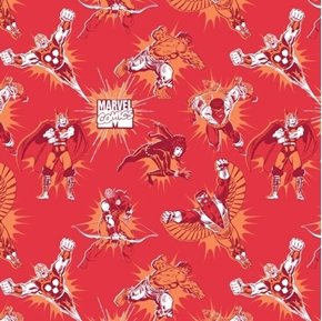 Marvel Comics III Character Tonal Superhero Ruby Cotton Fabric